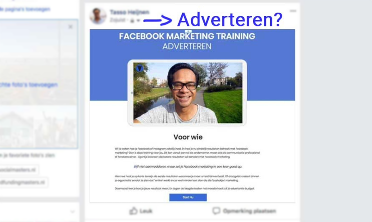 tekst in facebook advertentie